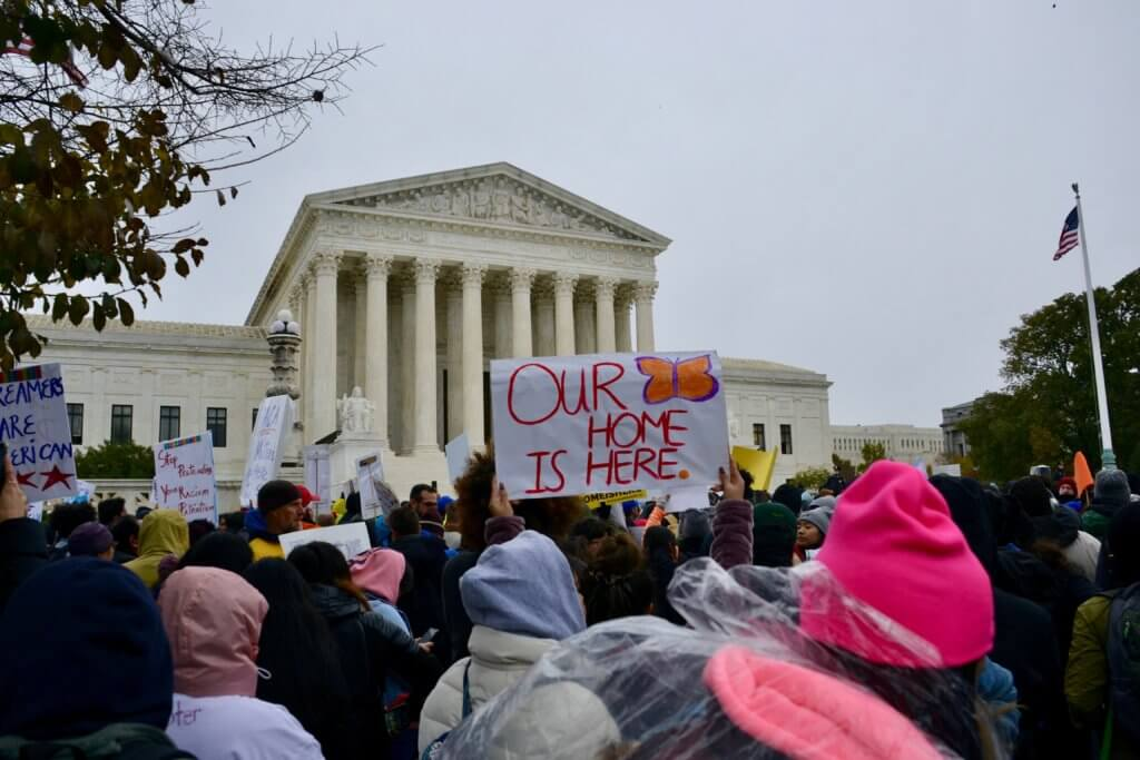 Immigrant youth and their supporters rallied outside the Supreme Court of the United States on Nov. 12, 2019. Supreme Court Justices heard arguments on the legality of the Obama-era Deferred Action for Childhood Arrivals program, which allows for temporary protection from deportation and permission to work and study in the U.S. for qualified young people. (Photo by Robin Bravender/States Newsroom)