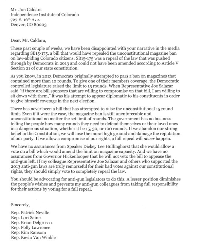 neville letter to caldara