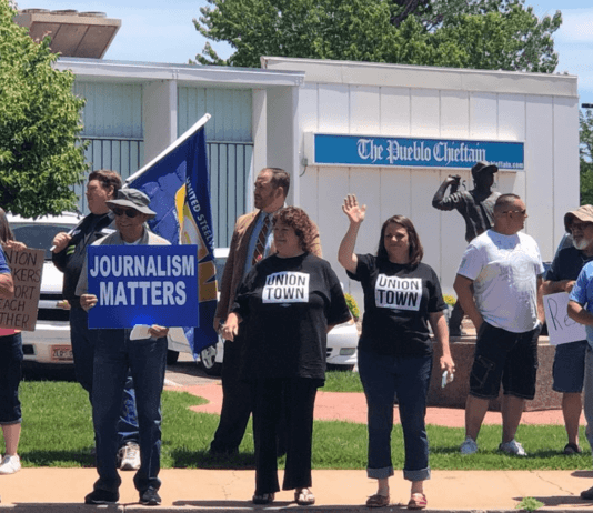 'Journalism Matters': Pueblo Chieftain employees protest cuts and their new owner outside the newsroom