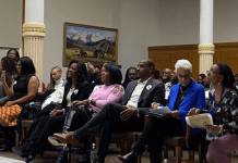 Community members and civic leaders wait to testify in support of the Colorado Crown Act, which would ban discrimination against natural hairstyles at work and in school. The bill passed out of a House committee on Feb. 5, 2020. (Photo credit: Erica Meltzer/Chalkbeat)