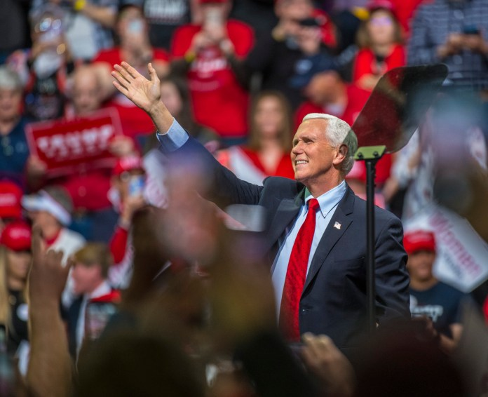 Vice-president Mike Pence attended a rally for President Donald Trump at the Broadmoor World Arena in Colorado Springs on Thursday, Feb. 20, 2020. (Photo by Evan Semon)