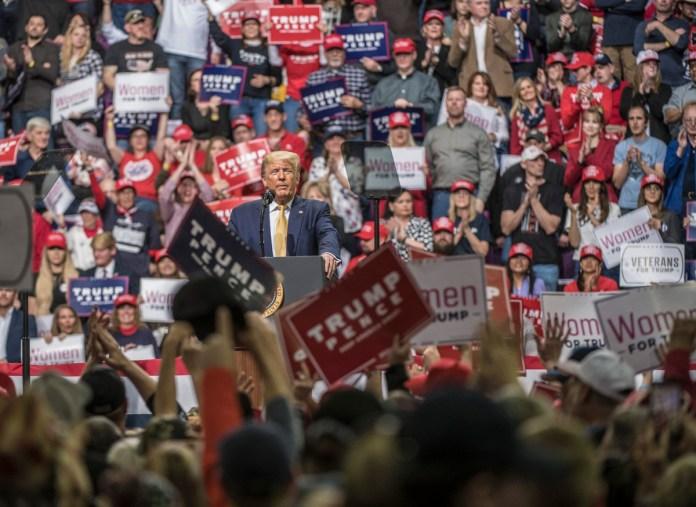 President Donald Trump spoke at the Broadmoor World Arena in Colorado Springs on Thursday, Feb. 20, 2020. (Photo by Evan Semón)