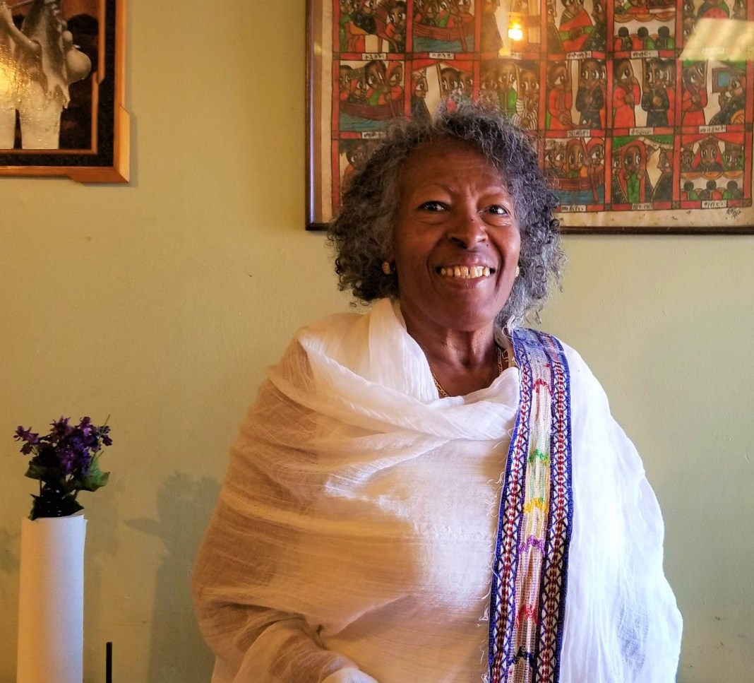 Zewditu Aboie poses for a photo at her restaurant, Queen of Sheba, on Feb. 5, 2020. (Photo by Forest Wilson)