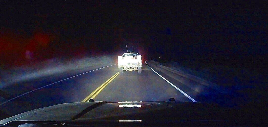 Screen shot from former Rangely Police Lt. Roy Kinney's squad car dash cam of the stolen truck driven by Daniel Pierce during police chase in Rio Blanco County on Dec. 10, 2018. The chase would end with Kinney firing two shots at Pierce, killing him.