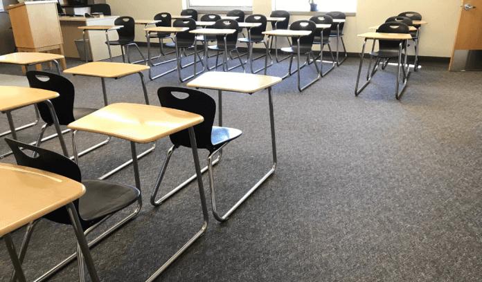 Empty classroom at Lakewood High School.