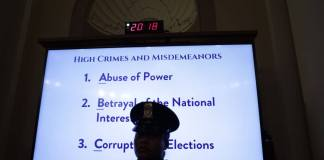 WASHINGTON, DC - DECEMBER 04: A list of high crimes and misdemeanors are listed on a monitor as constitutional scholars Noah Feldman of Harvard University, Pamela Karlan of Stanford University, Michael Gerhardt of the University of North Carolina, and Jonathan Turley of George Washington University testify before the House Judiciary Committee in the Longworth House Office Building on Capitol Hill December 4, 2019 in Washington, DC. This is the first hearing held by the House Judiciary Committee in the impeachment inquiry against U.S. President Donald Trump, whom House Democrats say held back military aid for Ukraine while demanding it investigate his political rivals. The Judiciary Committee will decide whether to draft official articles of impeachment against President Trump to be voted on by the full House of Representatives. (Photo by Alex Wong/Getty Images)