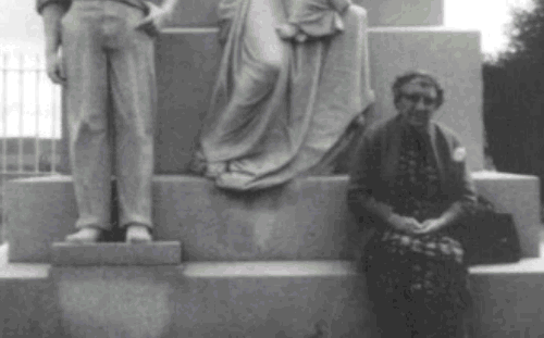 Mary Petrucci, decades after the massacre, at the Ludlow monument.