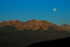 """The Aug. 2014 """"supermoon"""" sets over the Gore Range, Summit County, Colorado."""