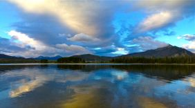 An iPhone pano shot, taken at dawn along the Dillon Dam Road, near Frisco, Colorado.