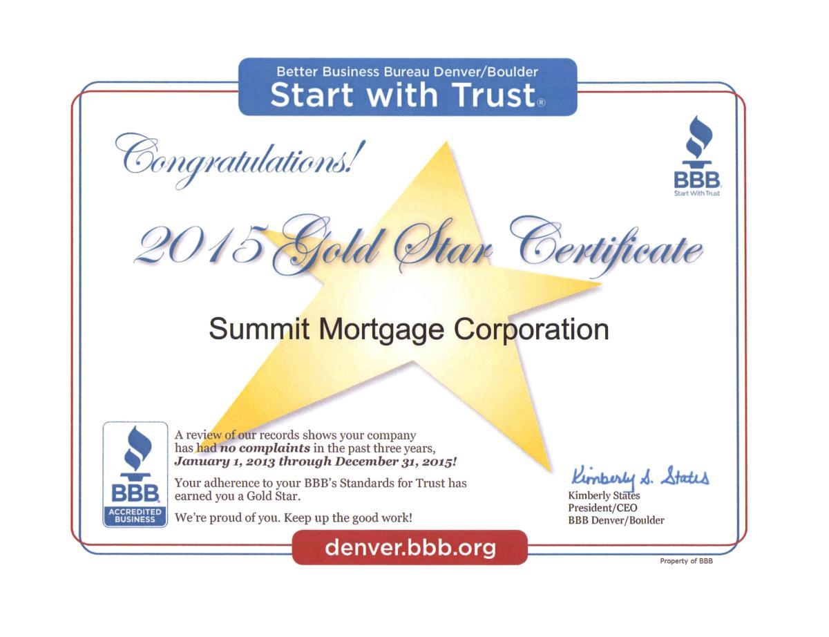 Gold Star Certificate