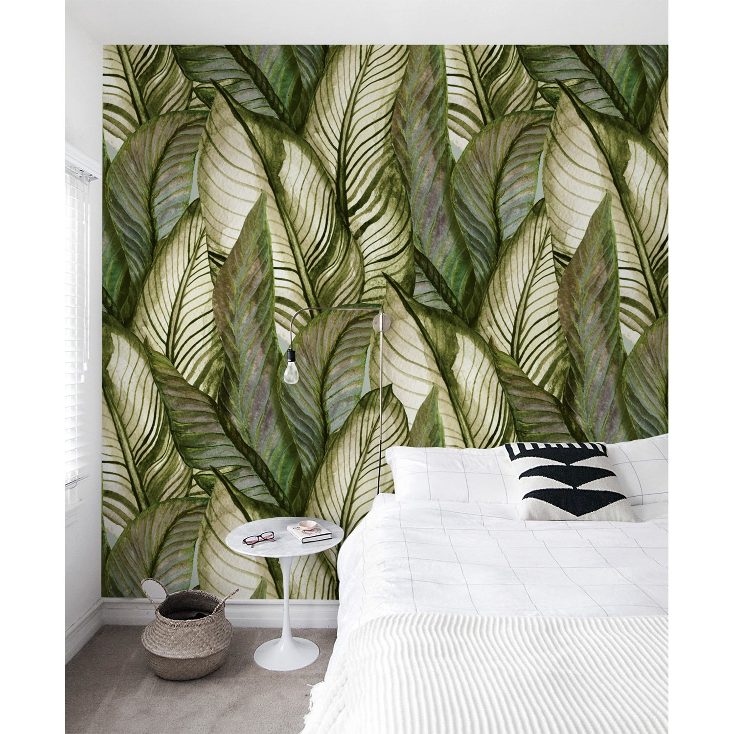 Green Palm Monstera Leaves Removable Wallpaper Floral Tropical Self Adhesive Ebay