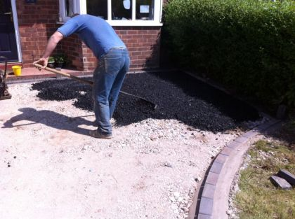 Tarmac base course being laid