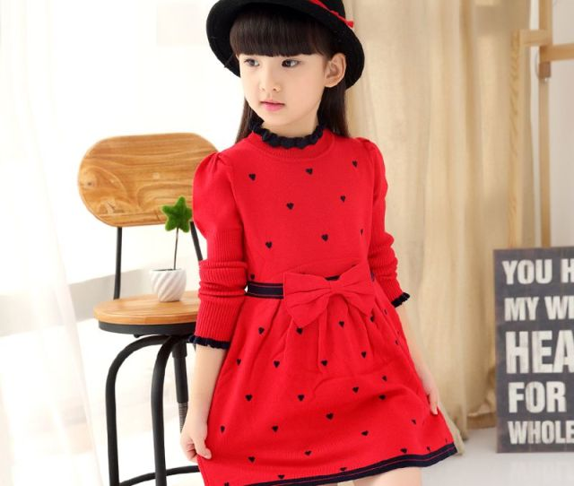 Cheap New High Necked Dress Girls Princess Dress Spring Models Sweater Dress Double Lotus Leaf Kids Clothing Sale Online