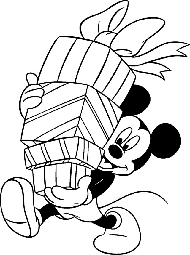 Mickey holding gifts  Free disney coloring pages, Birthday