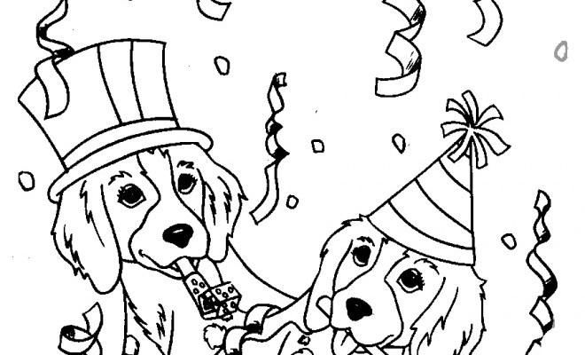 coloriage anniversaire de chiots dessin gratuit à imprimer