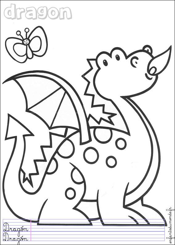 Coloriage Dragon Facile Dessin Gratuit A Imprimer