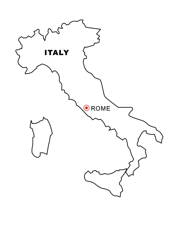 coloriage la carte de l italie simple