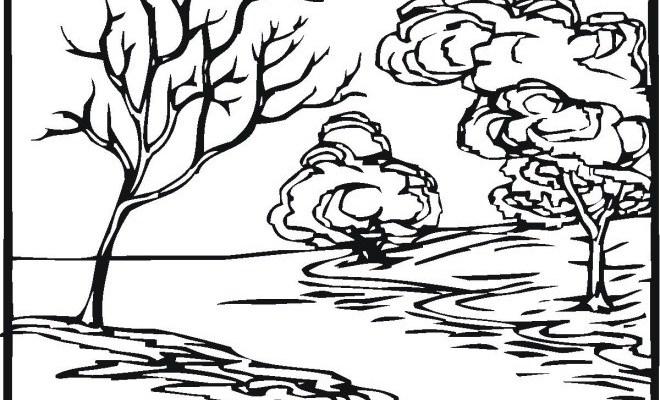 coloriage rivière en noir dessin gratuit à imprimer
