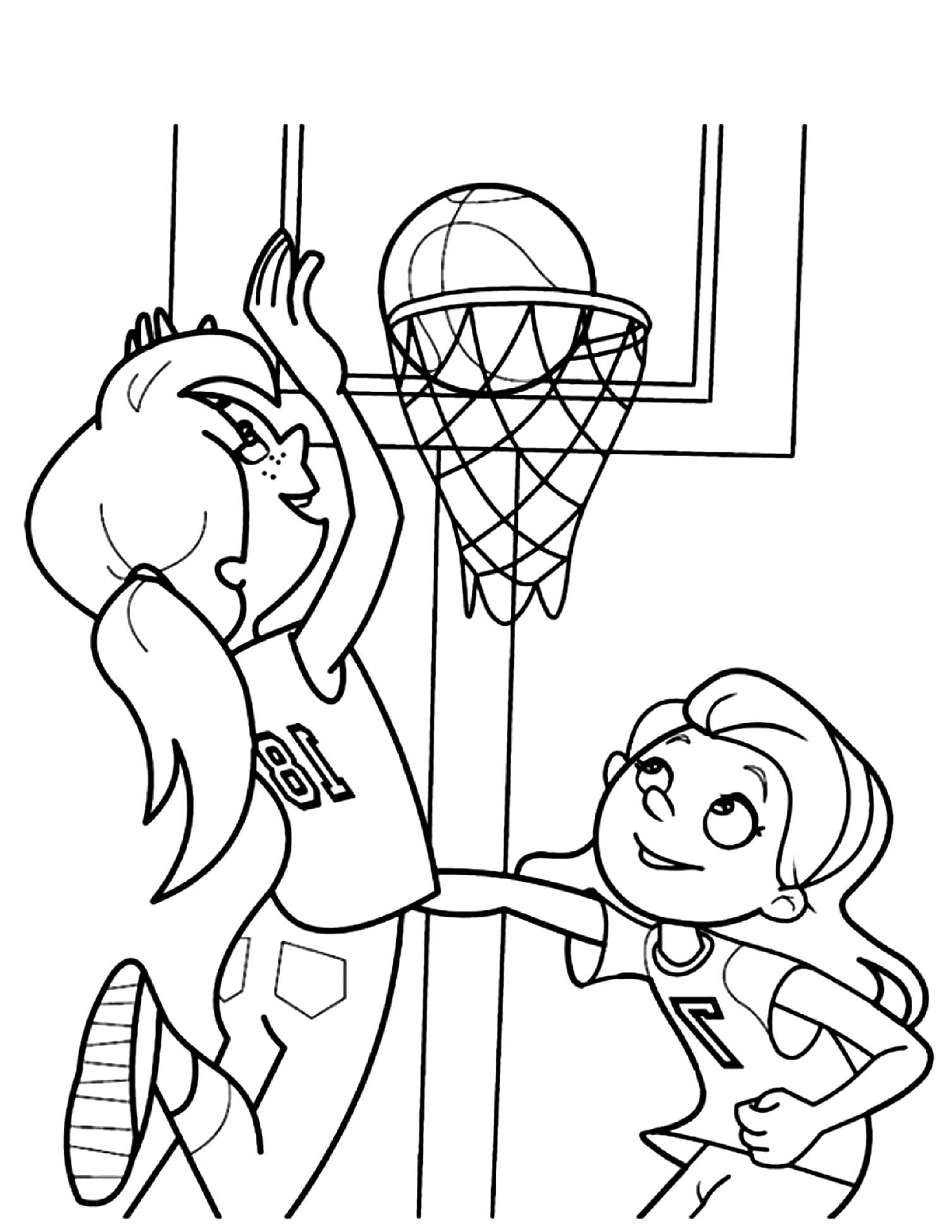 Girls Playing Basketball Coloring Page