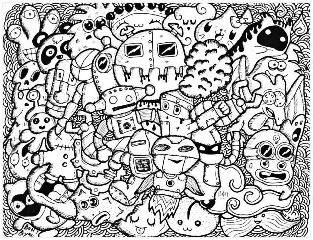 Complexe doodle rigolo - Coloriage adulte - Coloriages pour enfants