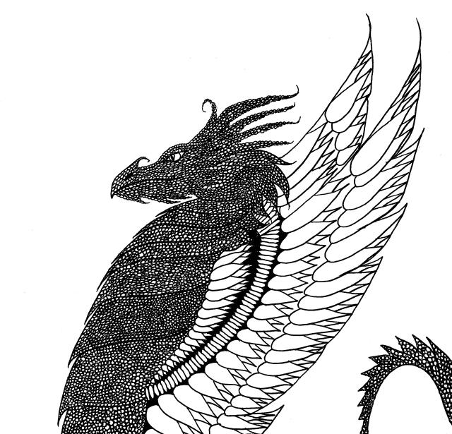 Le dragon par leen margot - Coloriage adulte - Coloriages pour enfants