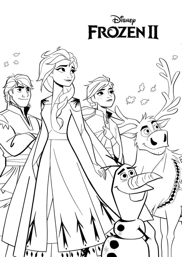 Olaf, Anna, Elsa, Sven et Kristoff - Coloriage La Reine des Neiges