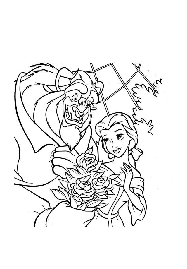 Coloriage de La belle et la bete pour enfants - Coloriage La belle