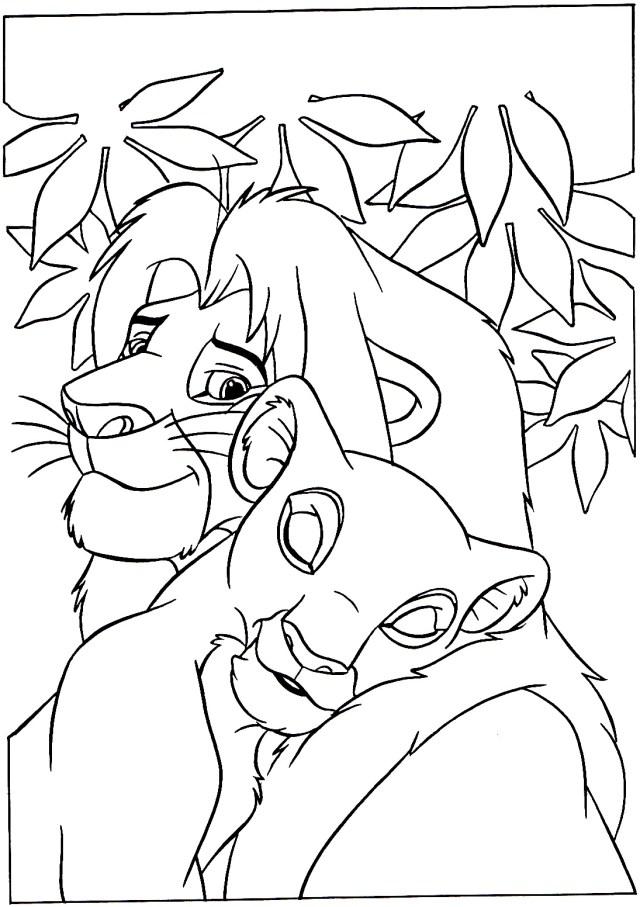 Mufasa et Nala - Coloriage Le roi lion - Coloriages pour enfants