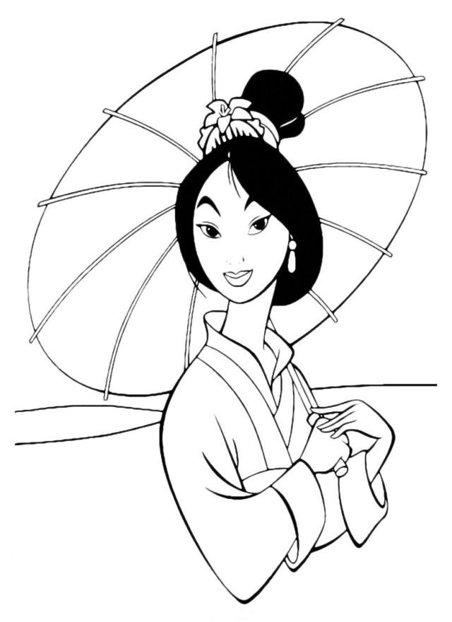 Coloriage de Mulan à colorier pour enfants - Coloriage Mulan