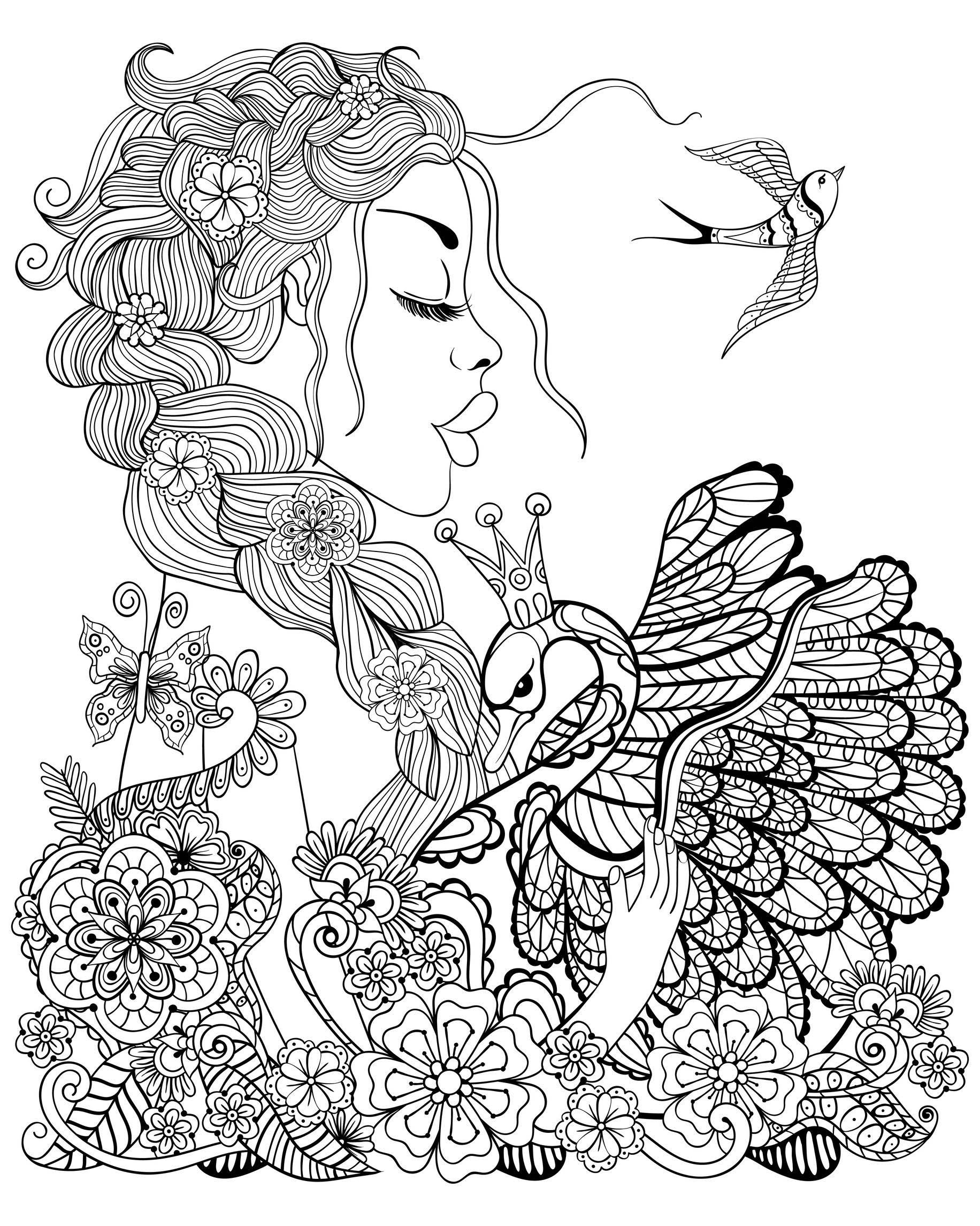 Femme Cygne Et Oiseau Coloriage DOiseaux Coloriages