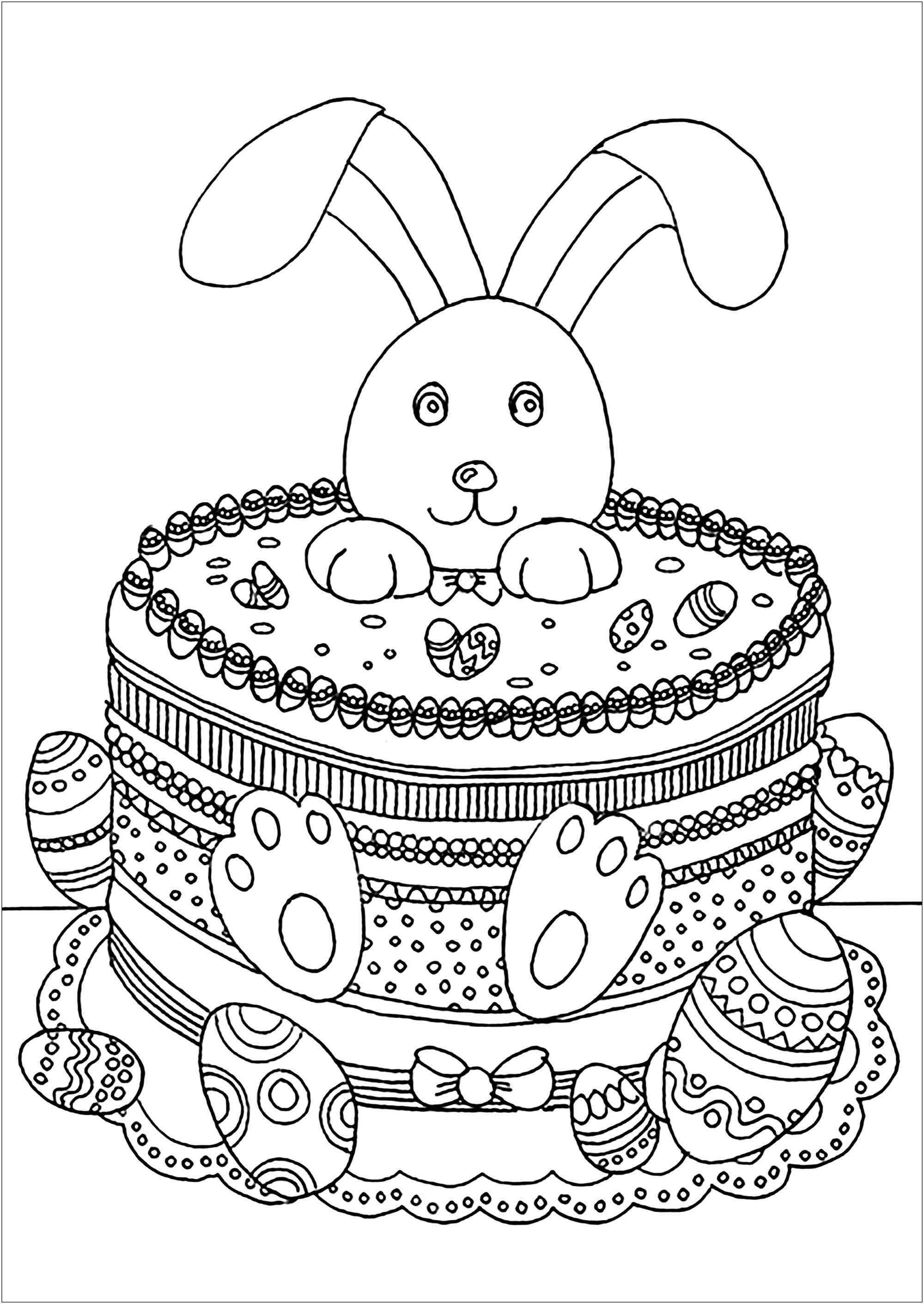 Lapin De Paques Coloriage De Paques Oeufs De Paques Lapins Cloches Coloriages Pour Enfants