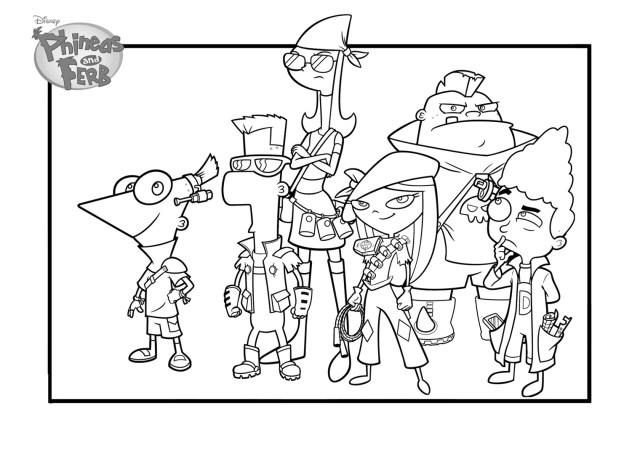 Coloriage de Phineas et Ferb Disney pour enfants - Coloriage
