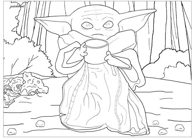 Bébé Yoda Le Mandalorien - Coloriage Star Wars - Coloriages pour