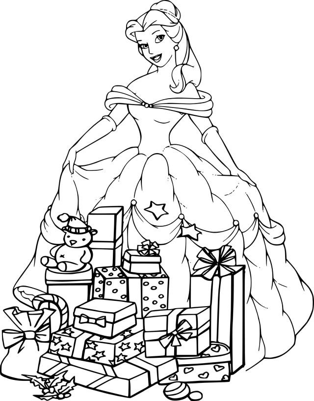 Coloriage de Noël princesse Belle à imprimer sur Coloriage DE .com