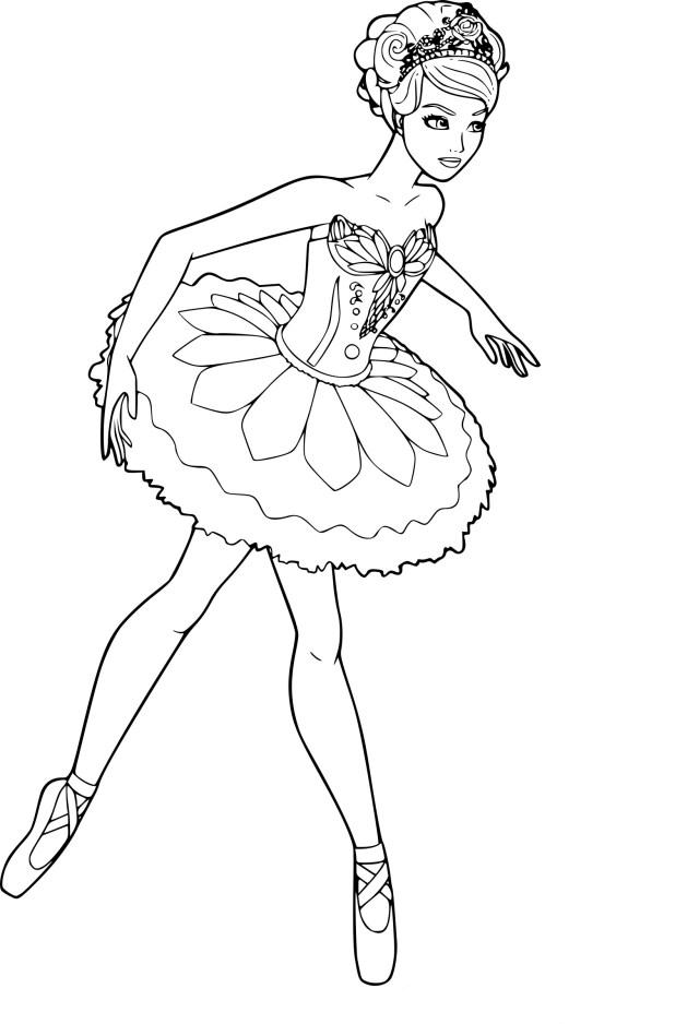 Coloriage de Barbie ballerine à imprimer sur Coloriage DE .com