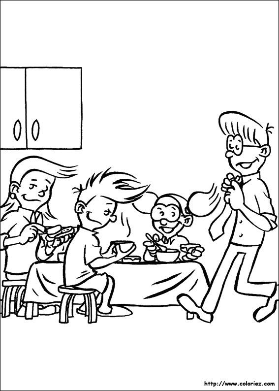 coloriage les enfants passent a table