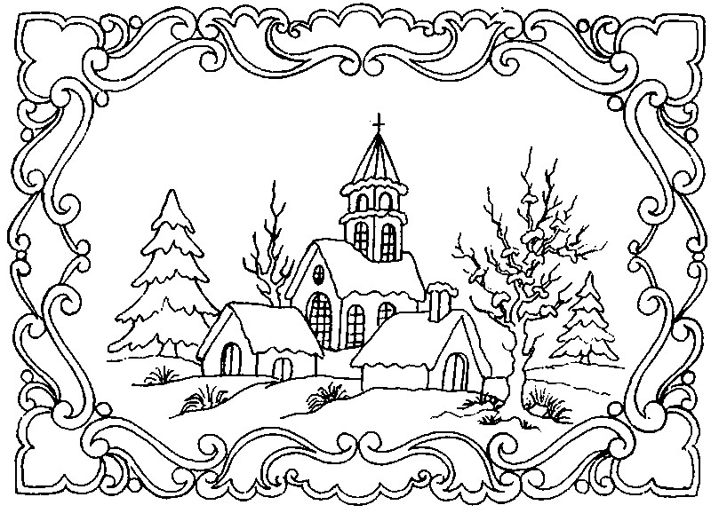 Art Therapy Coloring Page Winter Winter Landscape 5