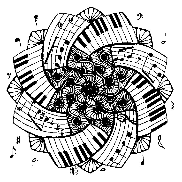 art therapy coloring page music  mandala piano 1