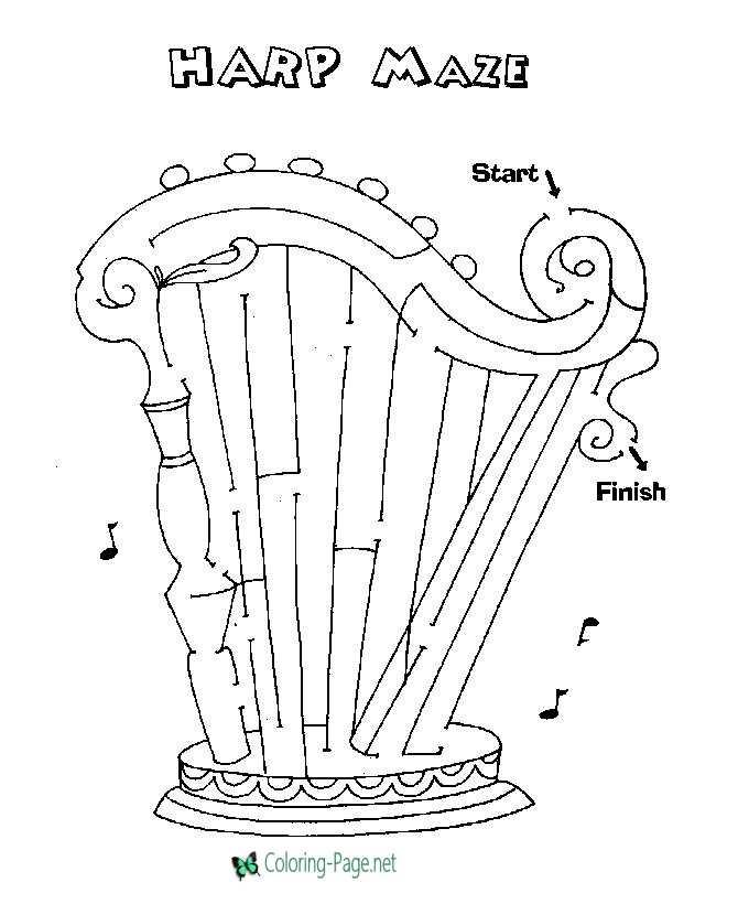 Harp Maze Printable Mazes