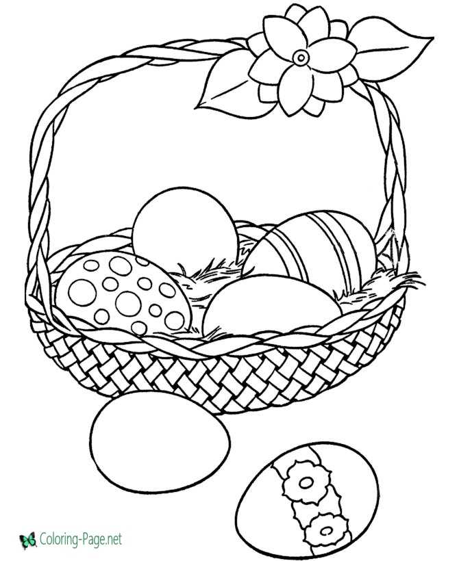 Basket Of Easter Egg Coloring Pages