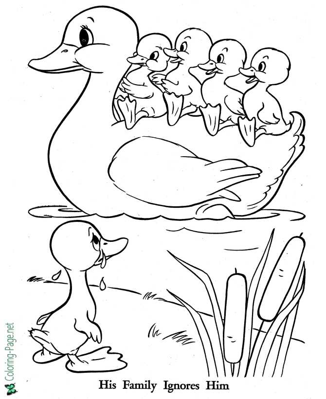 The Ugly Duckling Coloring Pages Fairy Tales