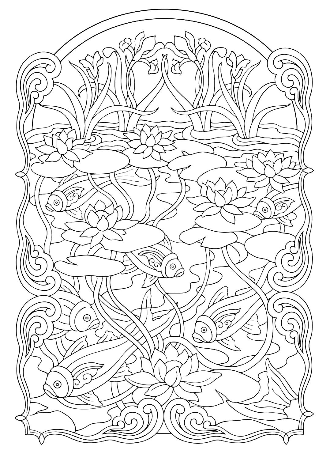 animals coloring pages for adults coloring adult fish pond