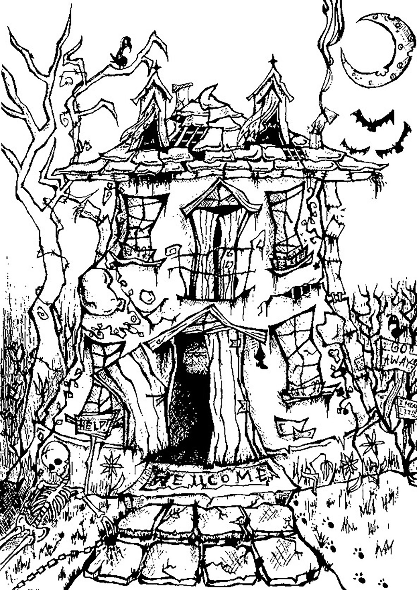 Halloween Coloring Pages For Adults Coloring Adult
