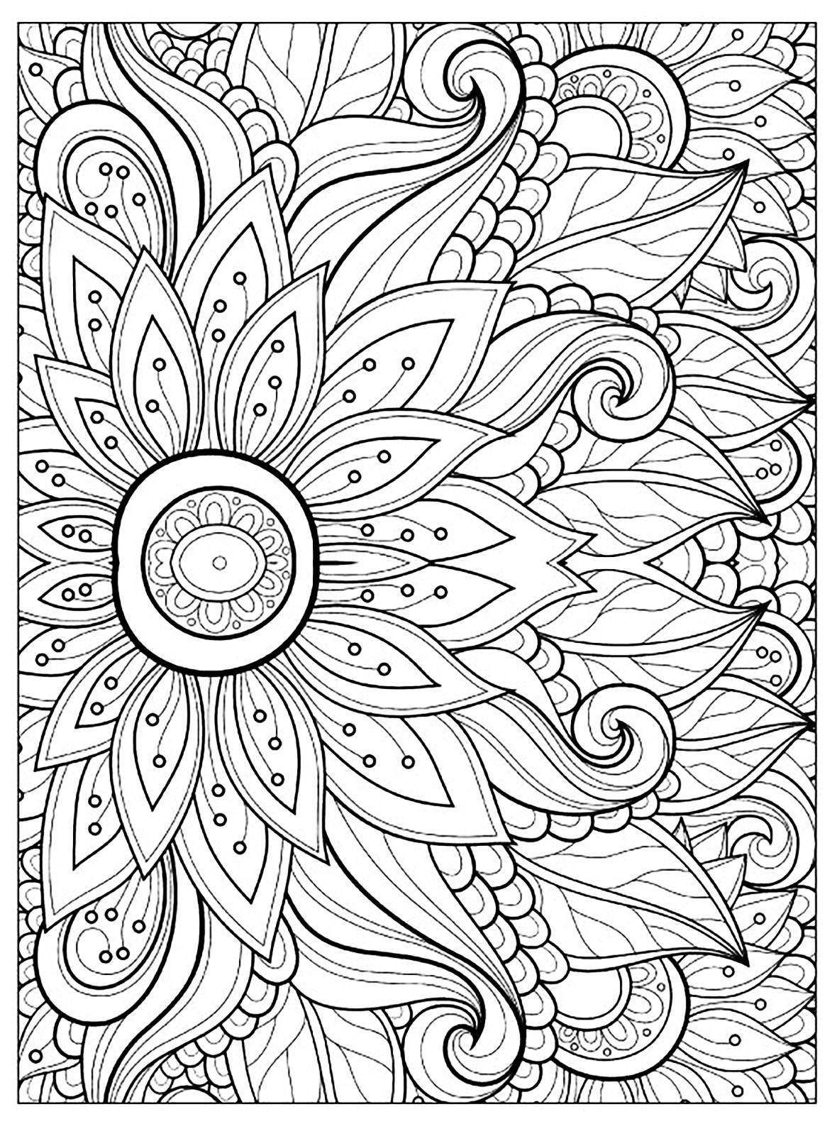 Flowers and vegetation - Coloring pages for adults ... | colouring pages for adults flowers