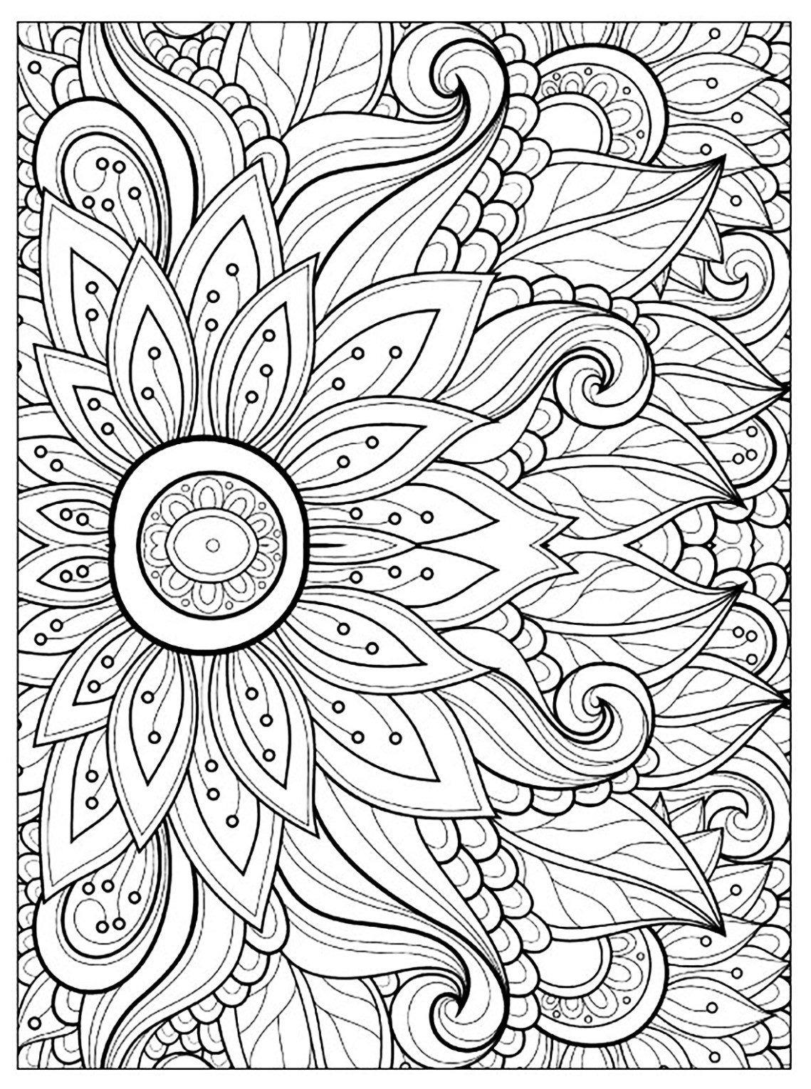 Flowers and vegetation - Coloring pages for adults ... | coloring pages for adults flowers