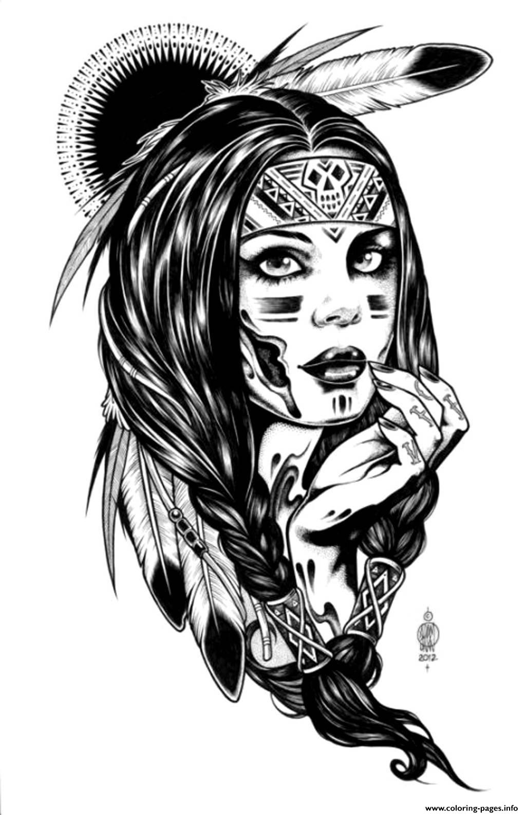 print adult native indian american woman coloring pages free printable