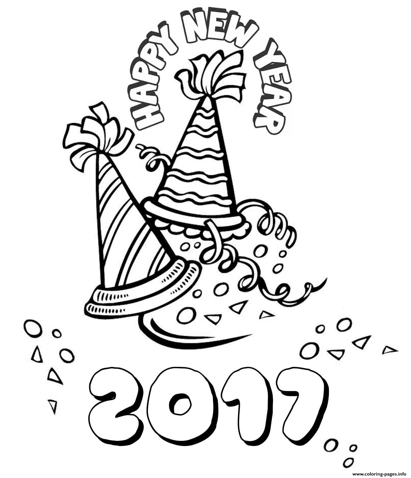 Happy New Year 2 Coloring Pages Printable