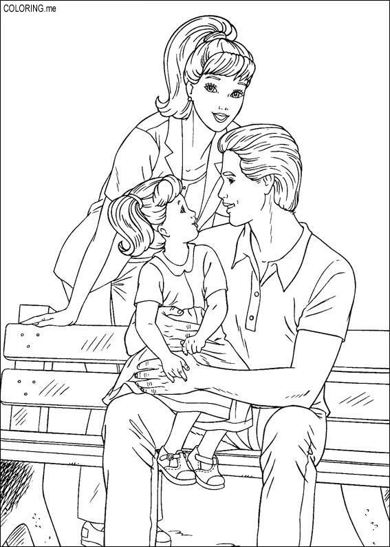 Coloring Page Barbie Ken And Their Children Coloringme