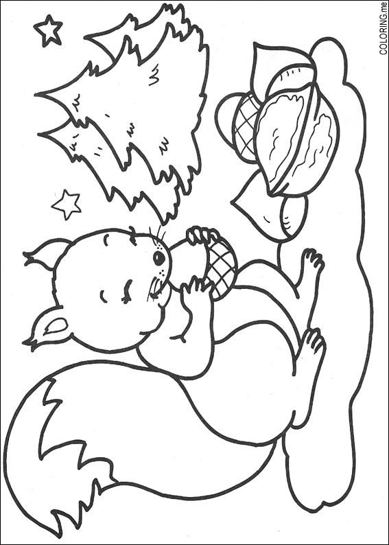 coloring page christmas squirrel coloring me