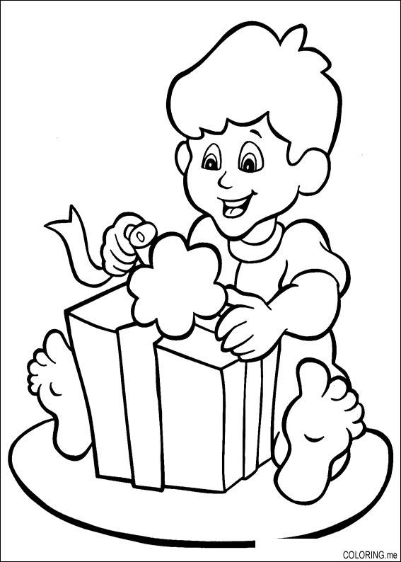 opening presents colouring pages